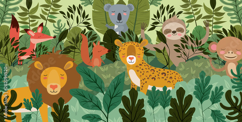 group of animals in the forest scene vector illustration design