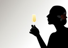Silhouette Of Woman, With Flower In Her Hair, Holding A Glass Of White Wine. Isolated Against Backlight On Light Background.