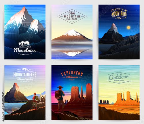 Photo Mountains Peaks card or brochure