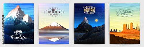 Mountains Peaks card or brochure Canvas Print