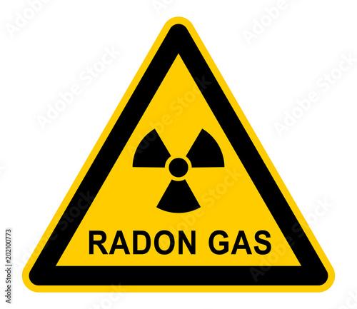 Vászonkép wso329 WarnSchildOrange - german: Radongas - Gefahr / Radonstrahlung in Häusern