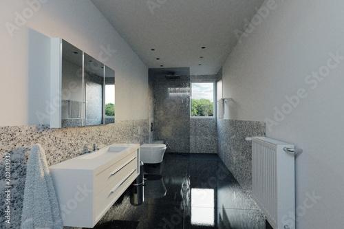 Modernes Naturstein Badezimmer Mit Sitzbank Und Glaswand 3d