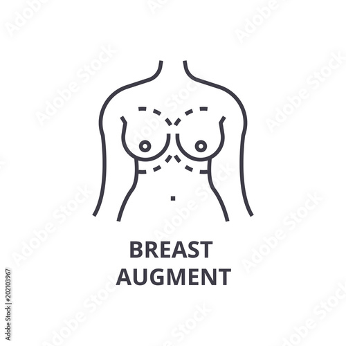 breast augment thin line icon, sign, symbol, illustation, linear concept vector Canvas Print