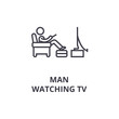 man watching tv thin line icon, sign, symbol, illustation, linear concept vector