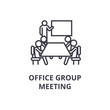 office group meeting thin line icon, sign, symbol, illustation, linear concept vector