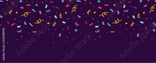 Fun confetti purple horizontal seamless border. Great for a birthday party or an event celebration invitation or decor. Surface pattern design.