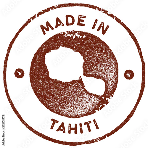 Tahiti map vintage stamp. Retro style handmade label, badge or ...