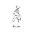 man with bucket illustration. Element of a person carries for mobile concept and web apps. Thin line man with bucket illustration can be used for web and mobile. Premium icon