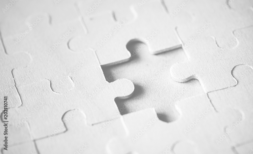 Fototapety, obrazy: Macro shot jigsaw puzzle missing solution concept