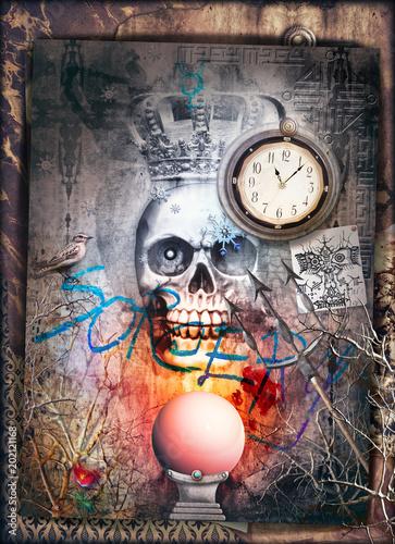 Papiers peints Imagination Teschio gotico con corona e sfera di cristallo