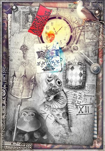 Papiers peints Imagination Stanza misteriosa e macabra con pupazzo, graffiti e orologio
