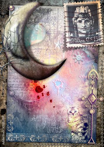 Papiers peints Imagination Luna delle fiabe su sfondo vecchia maniera, gatto misterioso e vecchi francobolli