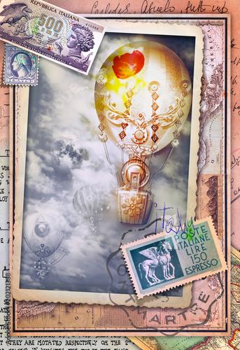 Papiers peints Imagination Cartolina vintage con volo di mongolfiere e vecchi itinerari