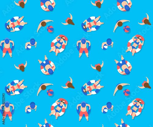summer swimming pool seamless pattern Wallpaper Mural