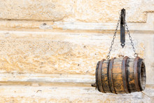 Small Wooden Barrel Hanging On...