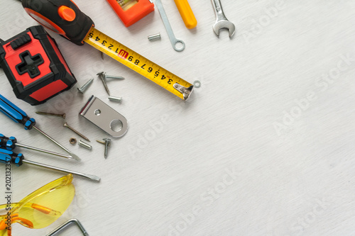 Obraz Many tools on white background - fototapety do salonu