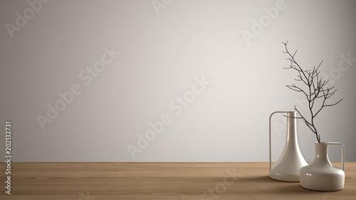 Obraz Empty interior design concept, wooden table or shelf with modern minimalist vases, white architecture background - fototapety do salonu