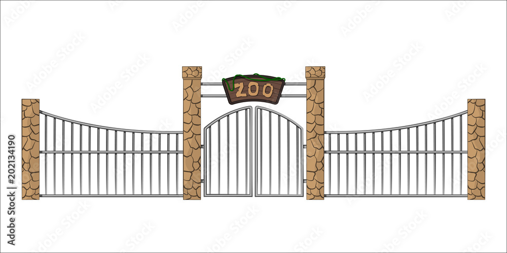 Fototapeta Zoo gate. Isolated object in cartoon style on white background. Gateway with lattice. Vector illustration
