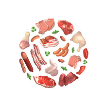Vector Cartoon Meat Elements Gathered In Circle Illustration
