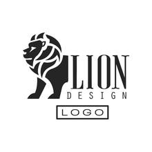 Lion Logo Design, Monochrome E...