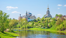 Ancient Monastery Of Saints Boris And Gleb On The Bank Of The River Tvertsy In The Ancient Provincial Russian Town Of Torzhok