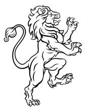 Lion Standing Rampant Heraldic...