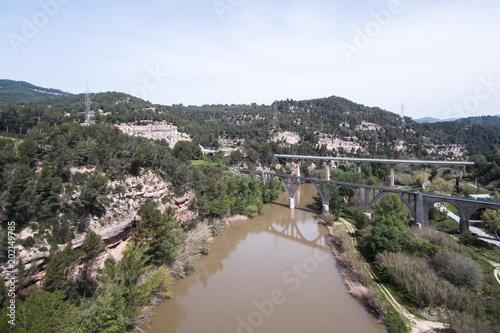 Llobregat river. Aerial view. Canvas Print