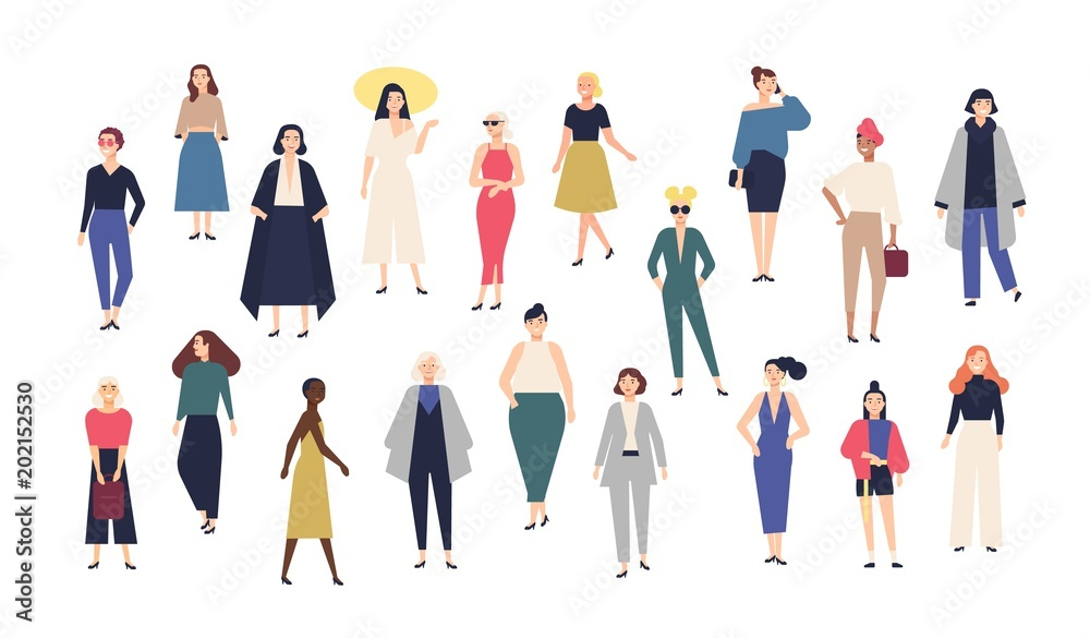 Fototapety, obrazy: Women's world. Crowd of girls dressed in trendy casual and formal clothes. Collection of female cartoon characters isolated on white background. Colorful vector illustration in modern flat style.