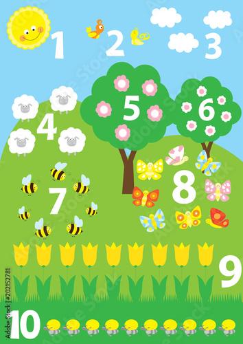 Plakat edukacyjny dla przedszkoli / przedszkoli o numerach 1-10