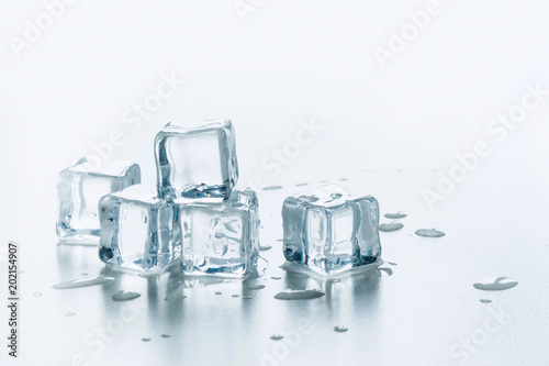 Freshness ice cubes isolated on white. Close up.