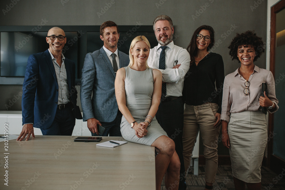 Fototapety, obrazy: Diverse business professionals together in meeting room