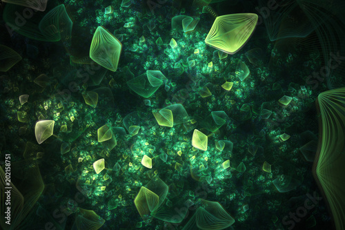 Foto op Canvas Fractal waves Abstract chaotic textured green shapes. Fantasy fractal design. Digital art. 3D rendering.