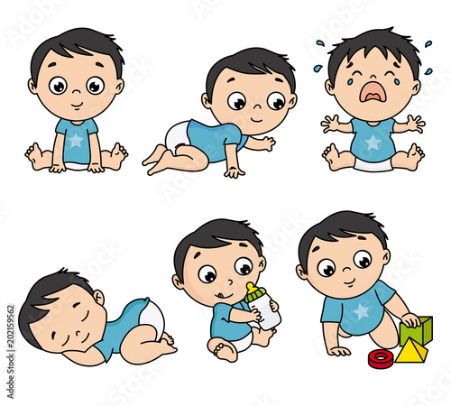 Foto Baby boy set in different poses such as standing, sitting, crying, playing, crawling