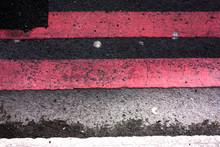 Pink Road Markings On Asphalt