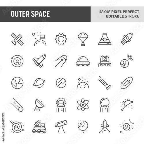 Fotografia, Obraz  Outer Space Vector Icon Set