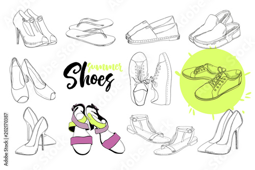 5c0d2bb622a21 illustration of isolated objects sandal shoes. Drawing graphic design for  woman, girl and lady