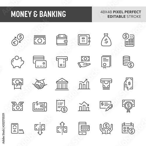Fototapeta Money & Banking Vector Icon Set obraz