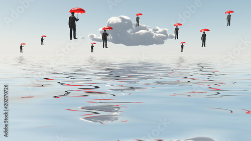 Fotografiet Floating Men with Umbrellas