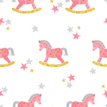 Seamless Pattern With Pink Watercolor Rocking Horse. Baby Shower Print.