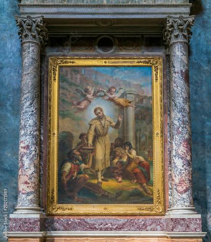 Valokuva  Paint with Saint Benedict Joseph Labre,  in the Church of Santa Maria ai Monti, in Rome, Italy