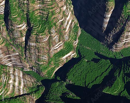 Fotobehang Rijstvelden virtuelle Landschaften aus dem Computer
