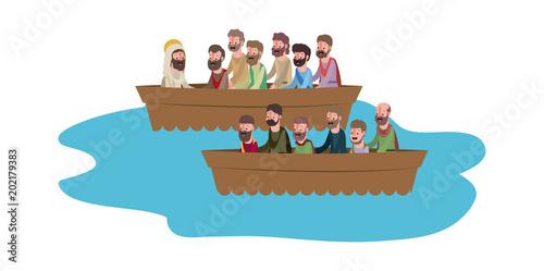 jesuschrist with apostles in boat biblical scene vector illustration design Fototapete