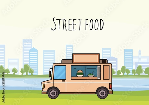 Colorful street-food truck on stylized cityscape background with trees and skyscrapers Canvas Print