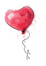 Red Heart Balloon Symbol Of Love With Person Flyin On It, Watercolor.