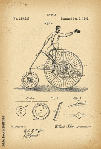 Obraz 1883 Patent Velocipede Bicycle history  invention - fototapety do salonu