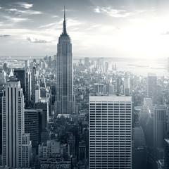 Panel Szklany Nowy York New york manhattan at sunset