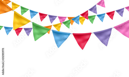Fotografia  Colorful flags garlands background.