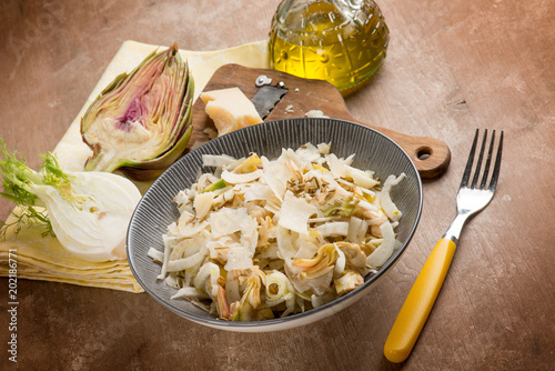 salad with artichoke, fennel, parmesan cheese flakes and fennel seeds Wallpaper Mural
