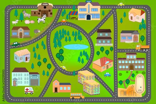 Fototapeta mapa świata dla dzieci  kreskowka-mapa-z-drogami-samochodami-i-domami-szpital-szkola-rynek-gospodarstwo-plan-miasta-dla-dzieci