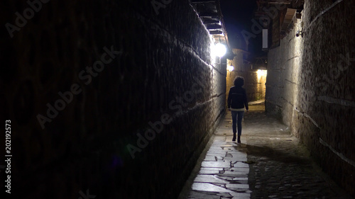 Stampa su Tela Lonely woman walk in old stone pavement alley at night in the back street
